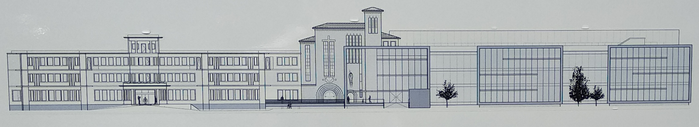 dibujo de la fachada del hospital
